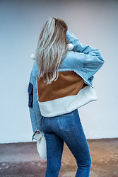 Adriana M. - Denim Patchwork Jacket, Uniqlo High Rise Jeans - Patchwork.