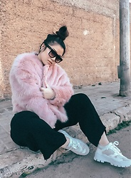 Joyce Wang - H&M Nicki Minaj X Faux Fur, Stradivarius White Sneakers - Furrrrr real (or fake?)