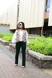 Kristen Tanabe - Vintage Bear Print Vest, Maje White Blouse, Kut From The Kloth Green Corduroy Pants, Sam Edelman Metal Purse, Reed Krakoff Nude Sandals, Miu Butterfly Frame Sunglasses - The Beary Cute Vest