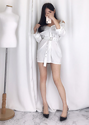 Ban Arin - Baeglam Belt Chic Shirt Dress - Belt chic shirt One-Pieces