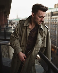 Lucca B. - Burberry Trench Coat, Topman Shirt - Hotel Stories