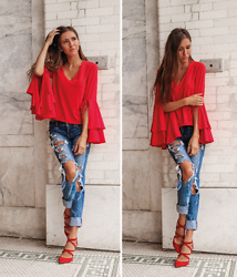 Jenny M - Nordstrom Red Bell Sleeves Blouse, American Eagle Outfitters Ripped Denim, Zara Red Suede Pumps - RED RED WINE // @thehungarianbrunette