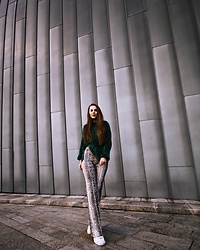 Vera Vonk - Bershka Flared Pants, Pull & Bear Sweater, Fila Shoes - Snake print
