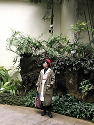 Flosmoony - Monki Coat, Vintage White Dress - Greeny Trip