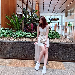 Syrena Hung - Fila Shoes, Temt Dress, Furla Bag, Rimowa Suitcase - All white