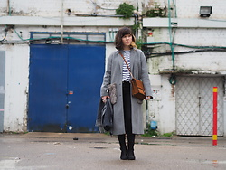 Fashionella ♥ - Zara Long Gray Coat, Mango Brown Bag - The long coat