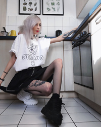 Kimi Peri - The Ragged Priest Love Is Strange Tee, Frilly Ribbon Socks, Skoot Apparel Fishnet Tights, Love Too True Black Skirt, Solrayz Moonstone Necklace, Tattoo Choker, Altercore Mossi Sneaker - Love Is Strang   e