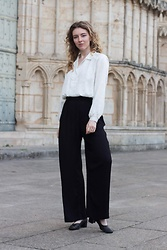 Holly Read - Rokit London Vintage Blouse, And Other Stories High Waisted Black Wide Leg Trousers, And Other Stories Black Heels - Romance