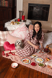 Lisa Valerie Morgan - Dress, Amara Picnic Baskeet, Amara Cake Stand, Target Heart Pillow - Romantic Indoor Picnic