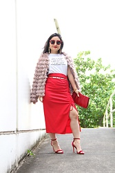 "Kristen Tanabe - Tobi Fringe Jacket, Forever 21 Corinthians Tee, Zara Red Skirt, Schutz Red Velvet Heels, Vintage Red Clutch, Miu Red Sunnies, Twelve ""Love"" Gold Chain Belt - ""Love is Patient, Love is Kind"""