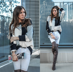Jenny M - Forever 21 Colourblock Sweater, Aldo Over The Knee Boots, H&M Belt - ROLLED-UP & TUCKED-IN // @thehungarianbrunette