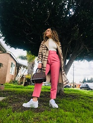 Stephany Salomon - Fashion Nova White Turtle Neck Body Suit, Louis Vuitton Lv Bag, Zara Pink Trousers, Nike Air Force 1 - Spring in Winter 🌸❄️