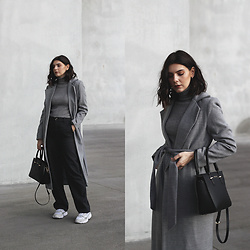 CLAUDIA Holynights - Shein High Neck Sweater, Zara Pants, Sienna Jones Bag, Adidas Sneakers - Grey