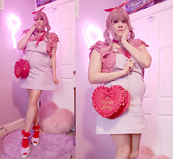 PastelKawaii Barbie - Ebay Red Gingham Head Wrap, Ebay Red Gingham Top, Ebay Red Heart Choker, Hot Topic Heart Lavender Overalls, Lolita Wardrobe Red Heart Bag, Ebay Red Lace Socks, Ebay Lavender Faux Fur Sandels - 🍓Strawbetty Valentine🍓