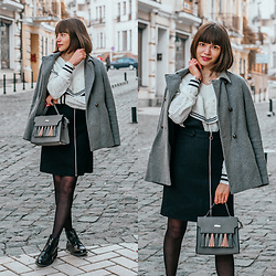 Christina&Karina Vartanovy - Zara Grey Wool Coat, Chic Wish Pearls Ruffle Sweater In White, Zaful Black Zippered Suspender Skirt, Rosegal Gray Tassel Suede Tote Bag, Asos Truffle Collection Front Zip Up Ankle Boots - Christina // pearl in the shell