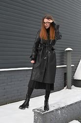 KRST VIEW - Reserved Leather Coat, Stradivarius Pleated Skirt, Boots, Gf Ferre Eyewear - Girls To The Front