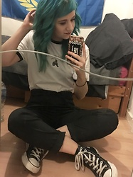 Idolsandanchors - Converse High Tops, Pull & Bear Paper Bag High Waist Pinstriped Trousers, Doomsday Co Nobody Likes You T Shirt - The Kids Can't Lose