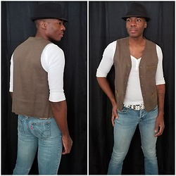 Thomas G - Gap Five Button, Levi's 547 Strauss & Co San Francisco California, Faded Glory Fedora, Old Navy 3 Button V Neck 3/4 Sleeve Top - Fedora + Vest + Jeans