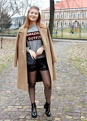 Aleksandra Siara - Shein Shorts, Stradivarius Coat - Sequin shorts