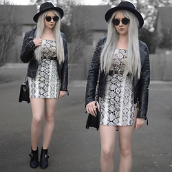 Sammi Jackson - Primark Black Fedora, Zaful Sunglasses, Shein Biker Jacket, Femme Luxe Snake Print Dress, Asos Double Buckled Belt, Oasap Quilted Flap Bag, Missguided Buckled Boots - SNAKE PRINT