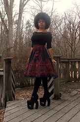 KaiaCeline R. - Black Milk Clothing Cleopatra Bodysuit, Black Milk Clothing Invocation Yoke Midi Skirt, Jeffrey Campbell Shoes Dink Heart - Look Of Invocation