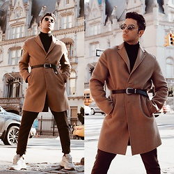 Franko Dean - Zara Camel Coat, Topman Belt, Zara Grandpa Sneakers, Asos Carrot Trousers, Ray Ban Round Sunglasses - BELTED