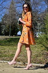 Elisabeth Green - Dokotoo Dress - Orange Wrap Dress