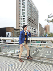 FL JU - Beams Plus Rugby Stripe Polo, Muji Shirts, Topman Tie, Topman Blazer - Back to Ivy League