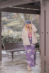 BG by Christina L - Dokotoo Faux Fur Jacket, Poshmark Purple Floral Maxi Skirt, Velvet Booties, Forever 21 Mauve Knit Top, Gray Newsboy Cap - My Purple Twilight Flowers