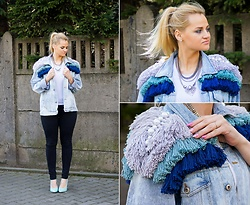 Irmina Kuzniak - Irminastyle Hand Made Denim Jacket - Hand made fringe and pearl jacket