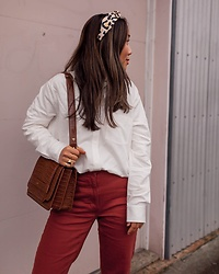T - Lele Sadoughi Headband, Jw Pei Bag, Everlane Pants, Madewell Shirt - Orange Hues