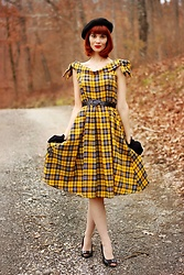 Bleu Avenue Ofbleuavenue - Shein 50s Bow Detail Plaid Foldover Bardot Dress - Bardot Dress
