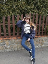 Justyna - Blue Jacket, Tommy Hilfiger Striped Sweater, Calvin Klein Jeans, Nike Sneakers - I See it I like it I want it I got it ✨