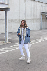 Claudia Villanueva - Pull & Bear Jacket, Bershka Shirt, Bershka Bag, Zara Jeans - How to wear white in winter