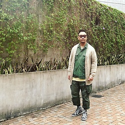 Mannix Lo - Vintage Knit Cardigan, Vintage Military Coverall, Cotton On Tee, Madness Military Cargo Pants, Vans Customised Sk8 Hi Sneakers - Unplanned moments are always better than planned ones