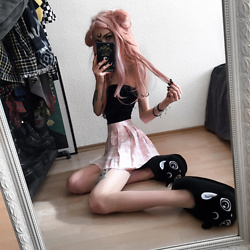 Kimi Peri - Plaid Skirt, Killstar Meowgical Slippers, Vii & Co. Ribbed Top, Wigisfashion Pink Hair - Black Lady