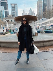 Taylor Brown - Marc Fisher Black Boots, Lee Jeans, Coach Black Backpack, Zara Black Peacoat, H&M Grey Turtleneck Sweater, Quay Black Sunglasses - Afternoon in Bryant Park