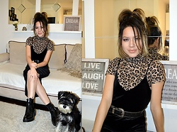 Marija M. - Terranova Turtleneck, Zaful Black Velvet Dress, Bershka Lace Up Boots - Leopard print