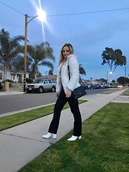 Stephany Salomon - Fashion Nova Faux Fut White Coat, Kate Spade Black Cross Bag, Dickies Black Trousers, Forever 21 White Booties - California nights 🌙