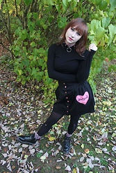 Lily - Cyberdog Leather Spiked Choker, H&M Long Sleeve Ribbed Crop Top, Drop Dead Heart Pocket Skirt, Ebay Ankle Boots - Fluffy Socks Are Always Appropriate