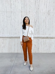 Haley D. - Missguided Off The Shoulder Top, Oak And Fort Bag, Forever 21 Pants, Target Mules - Orange 🍊