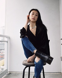 Gi Shieh - Thrifted Silver Choker, Molly Green Black Velvet Cardigan, H&M Distressed Skinny Jeans, Aldo Black Platform Boots - Am I Your Favorite Chair Model Yet? >.<