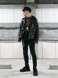 ★masaki★ - H&M Military Cap, Zara Oversized Biker Jacket, Bad Brains Tee, Neuw Denim Skinny Jeans, Nike Air Monarch - Positive mental attitude