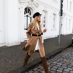 Catherine V. - Asos Baker Boy Hat, Comptoir Des Cotonniers Coat, Magali Pascal Dress, Stradivarius Over The Knee Boots, Zara Belt - SHADES OF BEIGE
