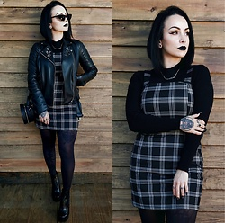 Priska Gomez - Real Eyez Black Sunglasses, Zara Black Biker Jacket, Stradivarius Black Round Bag, Bianca Black Platform Boots, H&M Black Knitted Long Sleeve, H&M Plaid Dress - Dead but Delicious
