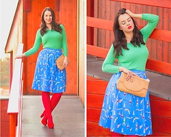 Drew - Lindy Bop Skirt, Topankovo Shoes - Colorful