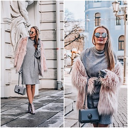 Madara L - The Metropolitan Chick Sweater Dress, Lovelywholesale Pink Faux Fur Coat, Asos Pink Glitter Boots - Dressing up a simple grey sweater dress