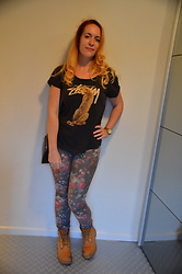 Sarah M - Aliexpress T Shirt, Only Pants, Timberland Boots, Michael Kors Watch, H&M Bag - Black & Floral