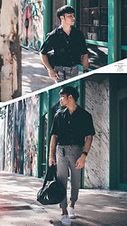 Andre Tan - George Black Short Sleeve Shirt, Zara Trousers, Herschel Duffle Bag, Cole Haan White Oxfords - W e e k e n d