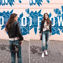 Kassy D - Costa Blanca Leather Jacket, Made In Budapest Leather Purse, H&M Sweater, Mavi Belt, Vintage Heart Denim Boyfriend Jeans, Converse Shoes - No Rain, No Flowers